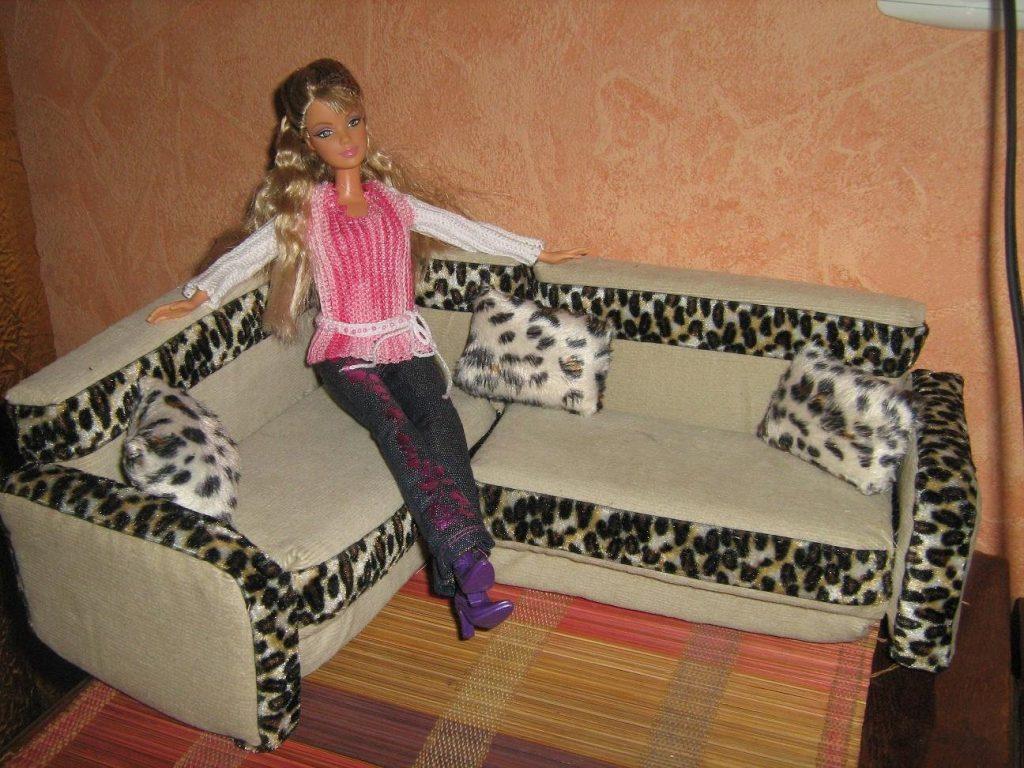 Сделать диван для барби своими руками