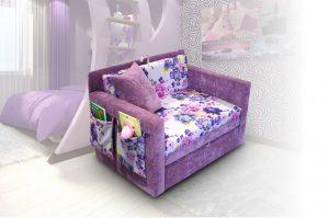 Кресло - кровать для детей сиреневого цвета